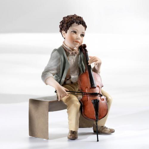 Фарфоровая кукла «Мальчик с контрабасом»