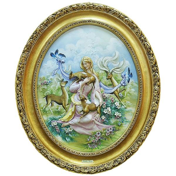 Барельеф «Девушка с оленятами»
