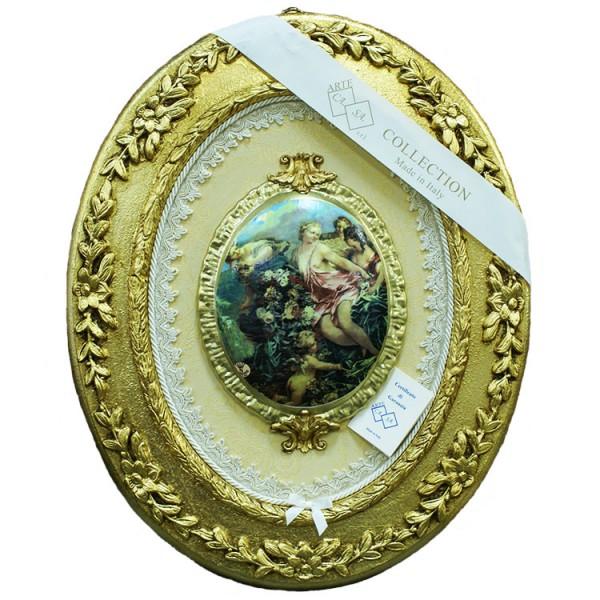 Панно овальное с тарелкой «Четыре девушки и ангел»