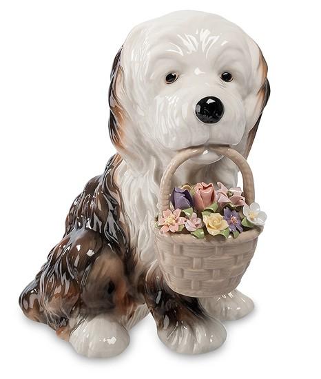 Музыкальная фигурка «Собачка с цветами»