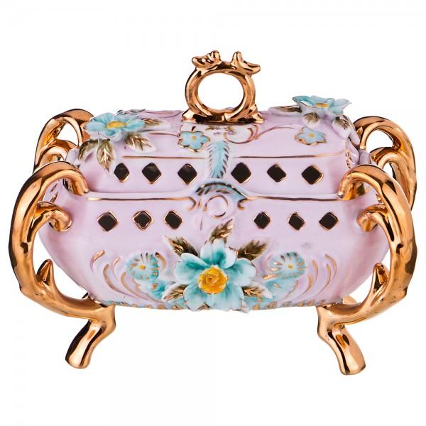 Фарфоровая шкатулка «Цветы» цвет розовый